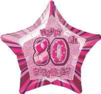 "Glitz 20"" Star Balloon Pink - Age 80"